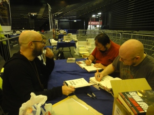 Dan, Nik, Matthew and Aaron signing Sabbat Worlds anthology