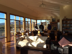 The living areas  with the windows and sun