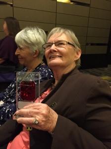 Glenda Larke with her Tin Duck. Juliet Marillier sitting next to her.