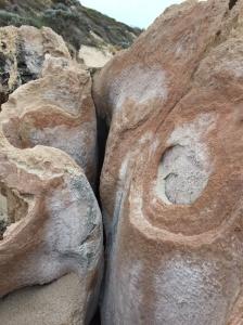 Eroded rocks at Halls Head Beach