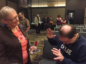 Glenda with John Scalzi, asking for forgiveness. Lol.